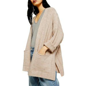 NEW TOPSHOP Long Open Front Cardigan Oat 12